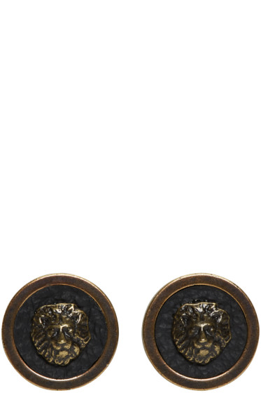 Versus - Brass Lion Stud Earrings
