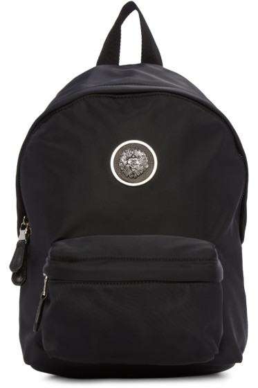 Versus - Black Nylon Lion Medallion Backpack