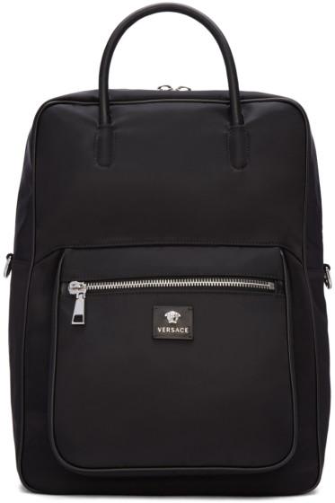 Versace - Black Nylon Backpack