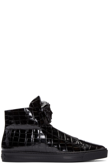 Versace - Black Croc-Embossed Medusa High-Top Sneakers