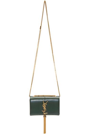 Saint Laurent - Green Snakeskin Monogram Kate Bag