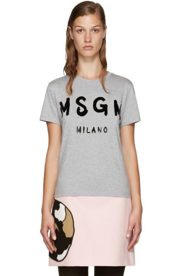 MSGM - Grey Paint Logo T-Shirt