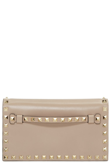 Valentino - Taupe Small Rockstud Clutch