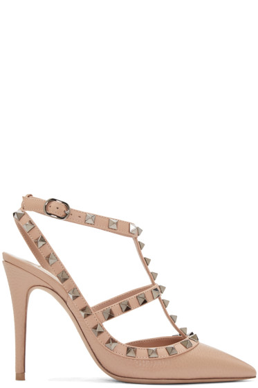 Valentino - Beige Rockstud Cage Heels