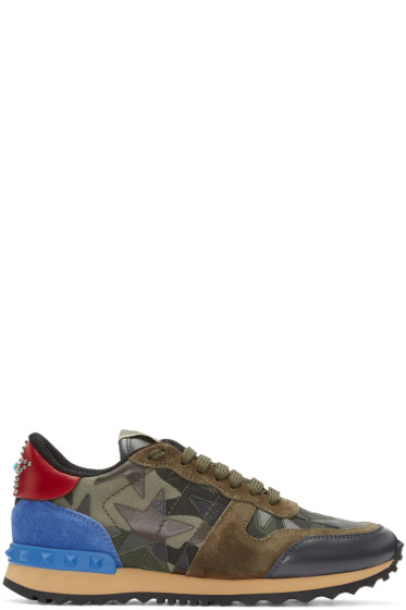 Valentino - Green Camustars Rockrunner Sneakers