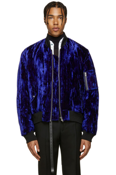 Haider Ackermann - Blue Velvet Bomber Jacket
