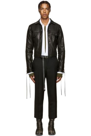 Haider Ackermann - Black Leather Lace-Up Jacket