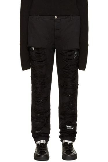 Hood by Air - Black Shredded Box Logo Jeans
