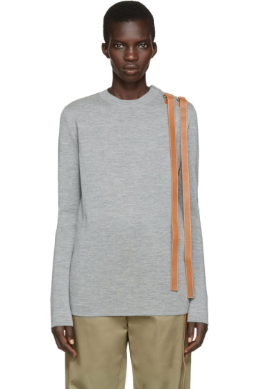 Loewe - Grey Leather Straps Sweater