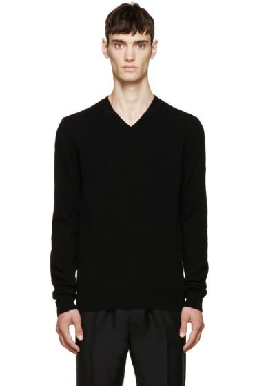 Comme des Garçons Play - Black Wool V-Neck Logo Sweater