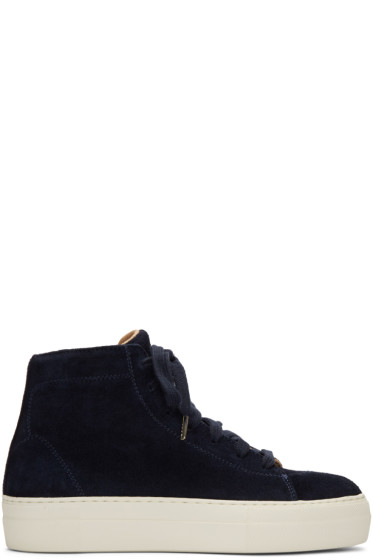 Helmut Lang - Navy Suede Stitched High-Top Sneakers