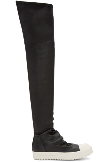 Rick Owens - Black Leather Sock Boots