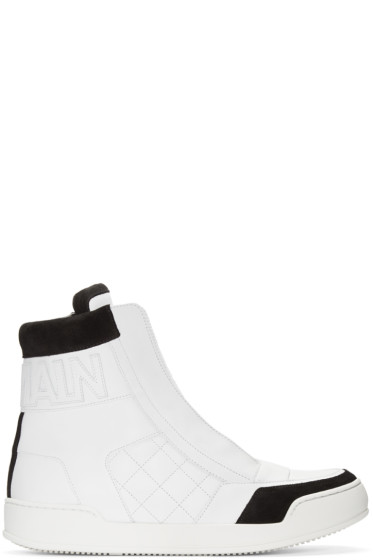 Balmain - White Quilted High-Top Sneakers