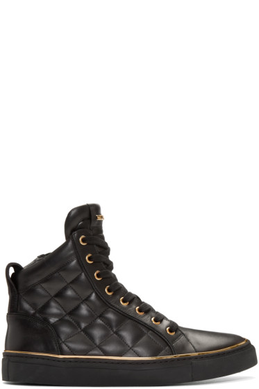Balmain - Black Quilted Leather High-Top Sneakers
