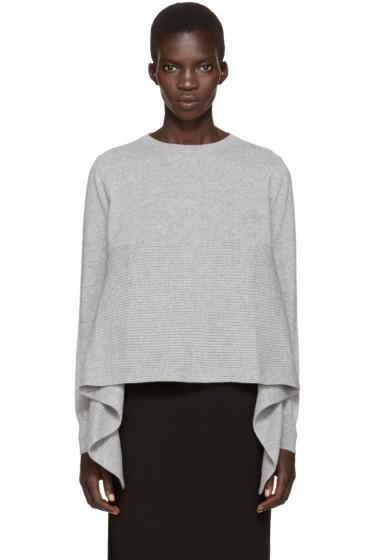 Alexander McQueen - Grey Cashmere Asymmetric Sweater