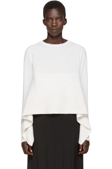 Alexander McQueen - Ivory Cashmere Asymmetric Sweater