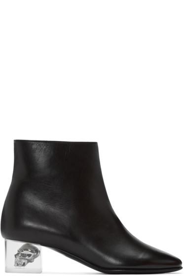 Alexander McQueen - Black Skull Ankle Boots