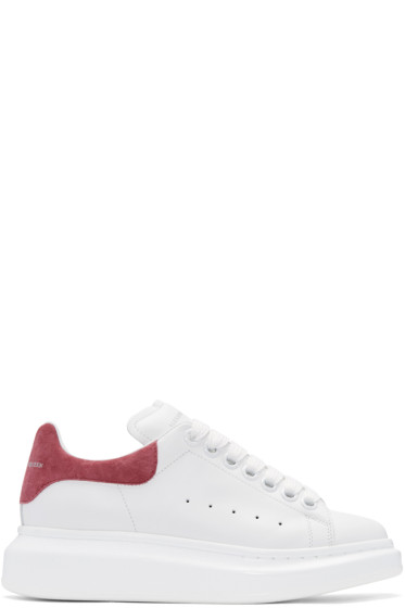 Alexander McQueen - White & Pink Suede Tab Sneakers