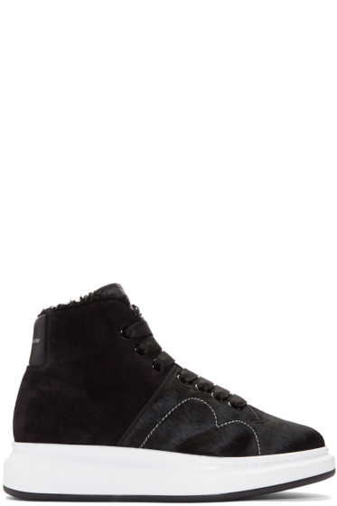 Alexander McQueen - Black Calf-Hair High-Top Sneakers