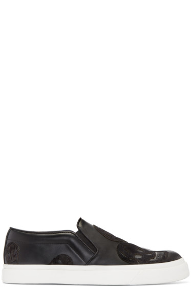 Alexander McQueen - Black Skull Slip-On Sneakers