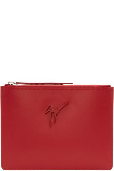 Giuseppe Zanotti - Red Leather Zip Pouch