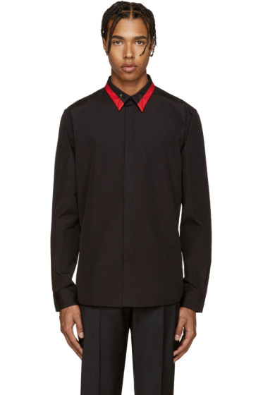 Givenchy - Black & Red Collar Shirt