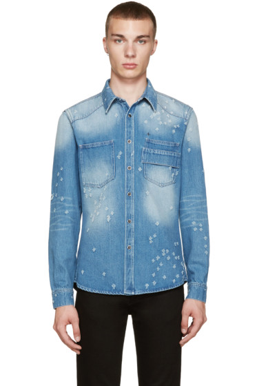 Givenchy - Blue Distressed Denim Shirt