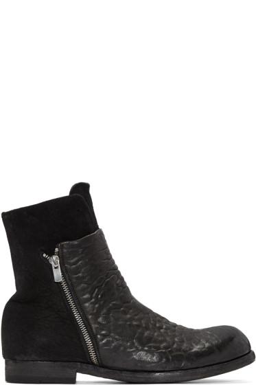 Officine Creative - Black Leather & Suede Bubble Boots