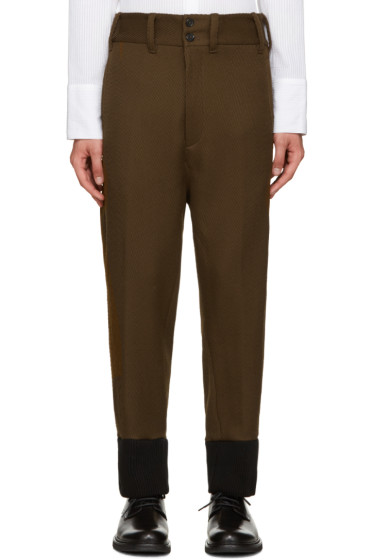 Ann Demeulemeester - Green Ribbed Cuff Trousers