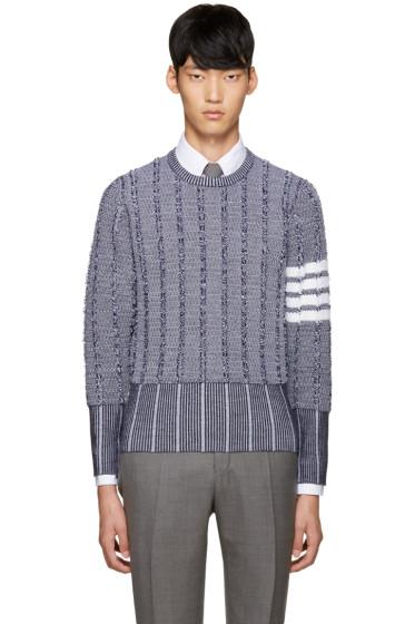 Thom Browne - Navy Wool Oxford Sweater