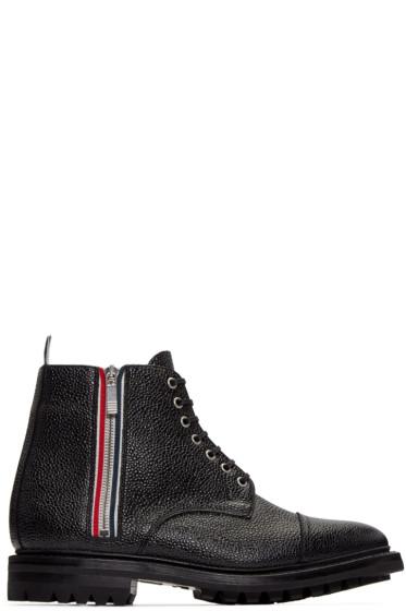 Thom Browne - Black Side Zip Boots
