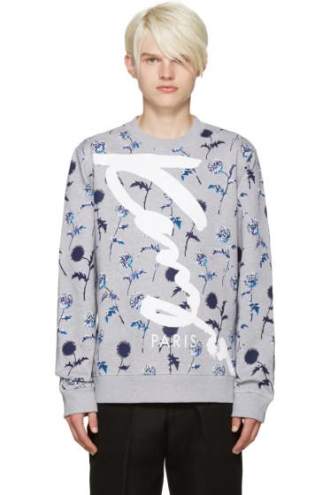 Kenzo - Grey Floral Print Logo Pullover