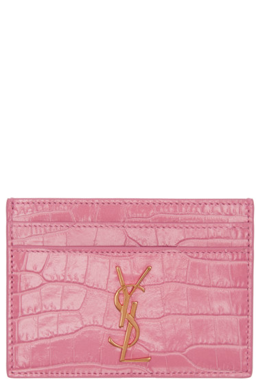 Saint Laurent - Pink Croc-Embossed Monogram Card Holder