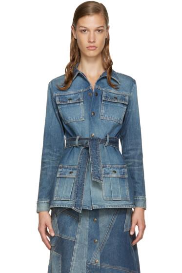Saint Laurent - Blue Belted Denim Jacket