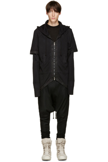 D.Gnak by Kang.D - Black Layered Fishtail Hoodie