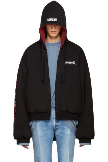 Vetements - Reversible Black Oversized Hoodie