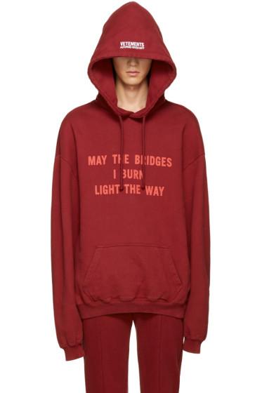 Vetements - Burgundy 'May The Bridges' Hoodie