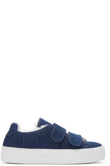 Joshua Sanders - Navy Denim & Shearling Sneakers