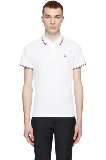 Moncler - White Tricolor Trim Polo