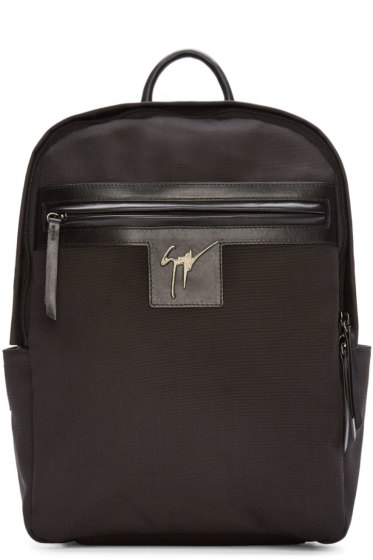 Giuseppe Zanotti - Black Canvas & Leather Logo Backpack