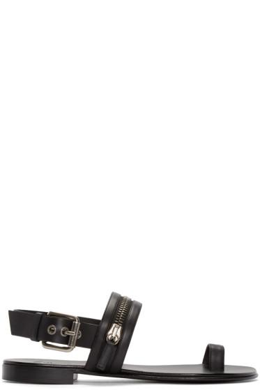 Giuseppe Zanotti - Black Leather Zipper Sandals