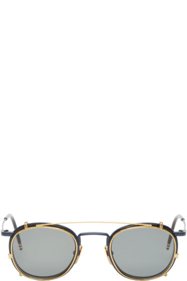 Thom Browne - Navy & Gold Clip-On Sunglasses