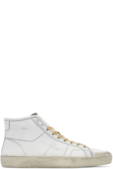 Saint Laurent - White & Gold Court Classic SL/37M High-Top Sneakers