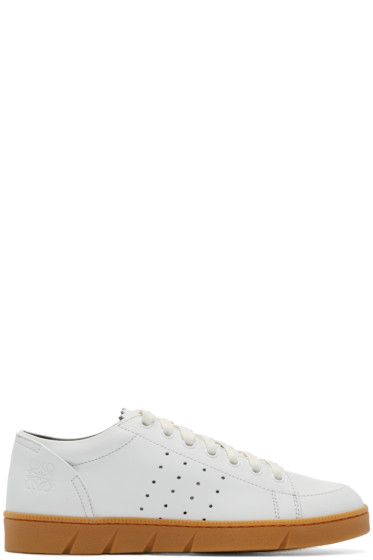 Loewe - White Leather Sneakers