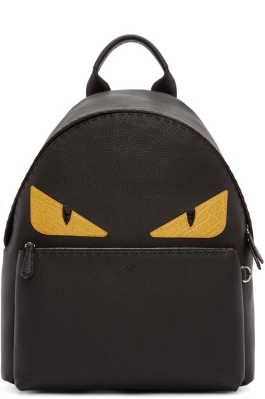 Fendi - Black Leather Monster Eyes Backpack