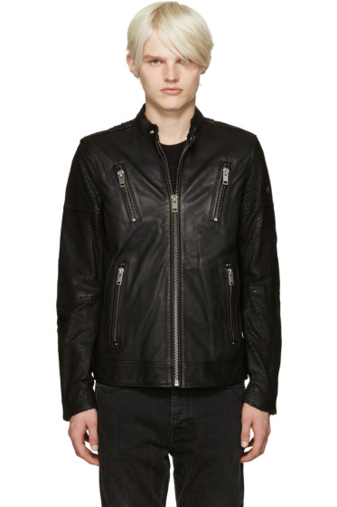 Diesel - Black Leather L-Rambo Jacket
