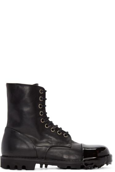 Diesel - Black Leather Steel Boots