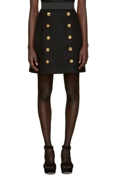Dolce & Gabbana - Black Wool Gold Buttons Skirt