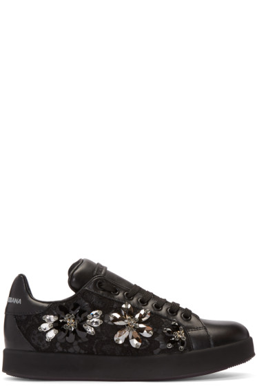 Dolce & Gabbana - Black Lace & Crystal Sneakers