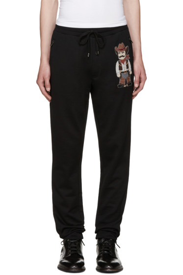 Dolce & Gabbana - Black Embroidered Cowboy Lounge Pants